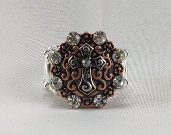 3 optionsCross Stretch Ringsantique copper antique gold and antique silver