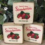 Fresh Strawberries Wood Sign, Wood Block, Country Fruit Decor, Farmhouse Decor, Fixer Upper Decor, Rustic Decor, Summer Decor, Picnic Decor