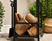 Forge quot Erik Nordic quot Log Basket with Fireplace Tools