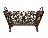 Cast Iron Ornate Log Basket/ Fireside, Fireplace Storage/ Decorative Storage