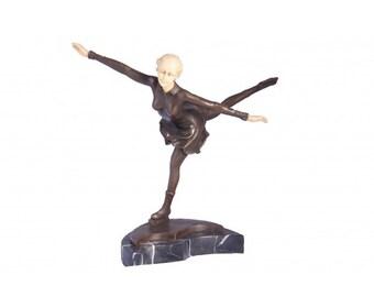 Lipenski Bronze Figure Skater Sculpture