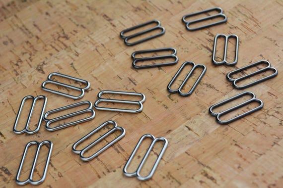 "10-3//4/"" Slide Adjusters for Bow Tie Adjustable Straps Rectangle Silver Metal"
