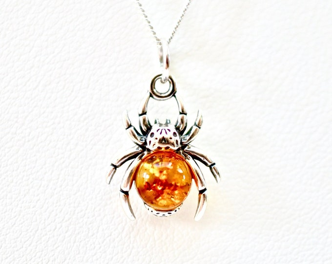 "Featured listing image: Baltic Honey Amber Spider set in Sterling Silver on 925 18"" Sterling Silver Necklace"