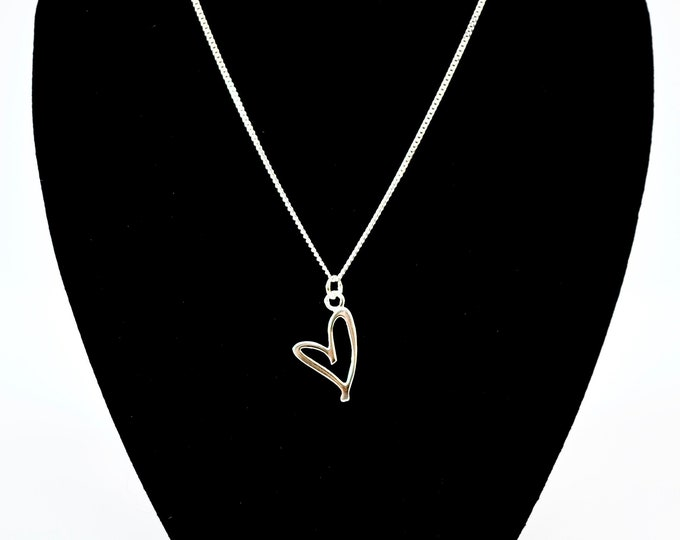 Featured listing image: Sliver Script Heart Necklace.