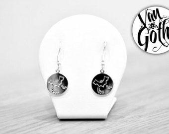 Flying Bat Drop Sterling Silver 925 Earrings