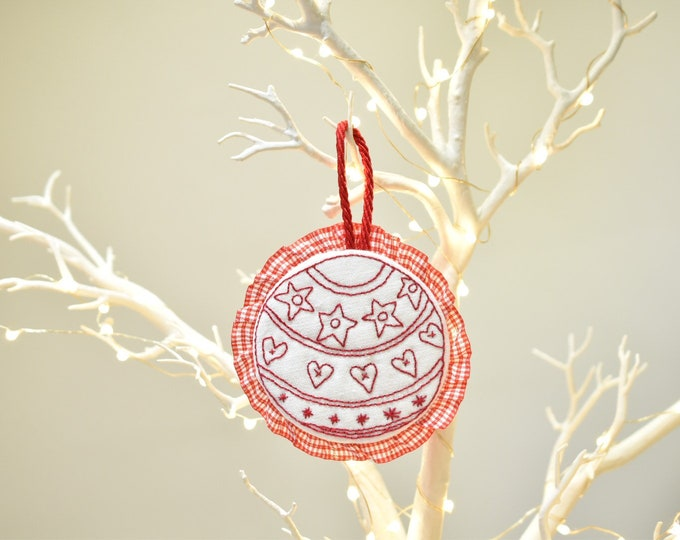 Hand Made Red Work Hanging Christmas Decorations or Alternative Christmas Card!