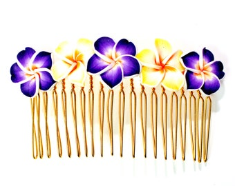 Hawaiian Plumeria Decorative Hair Comb Yellow and Purple