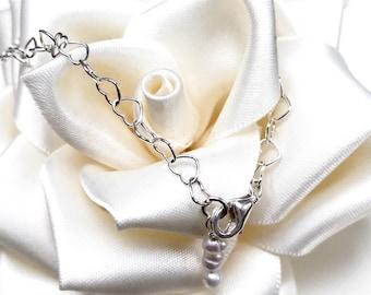 Heart Chain-Link 925 Sterling Silver freshwater Pearl bracelet