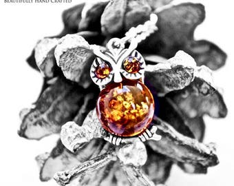 """Baltic Honey Amber Owl set in Sterling Silver on 925 18"""" Sterling Silver Necklace"""