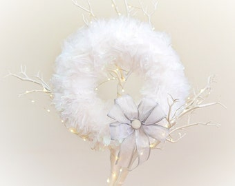 Frosty Iridescent White Tulle Wreath