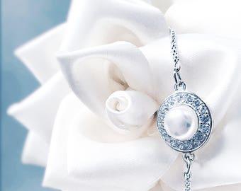 Elegant Pearl & Cubic Zirconia encrusted Sterling 925 Silver Slider Bracelet