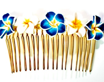 Hawaiian Plumeria Decorative Hair Comb Blue and White