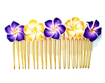 Hawaiian Plumeria Decorative Hair Comb Orange and Purple