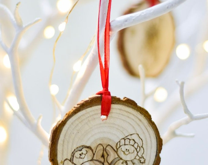 Penguin Buddies (Pyrograhed log round) Tree Ornament