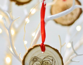 Snow Friends (Pyrograhed log round) Tree Ornament