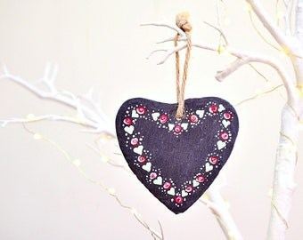 Shabby Chic Hand Painted Slate Heart