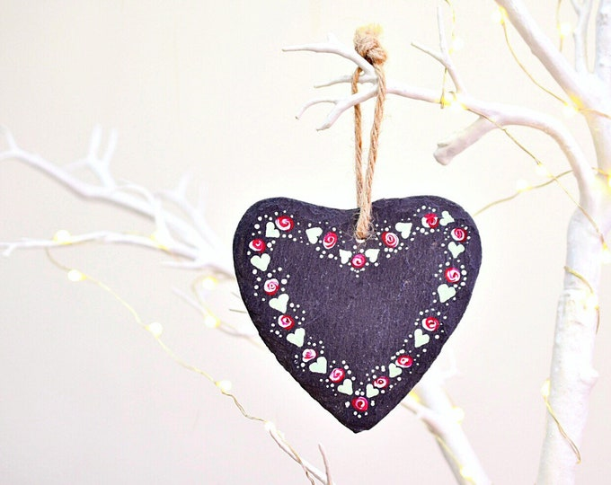 Shabby Chic Hand Painted Slate Heart