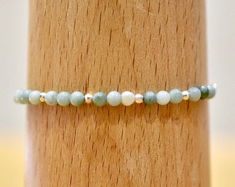 Jade and Silver Beaded Bracelet