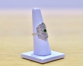 925 Sterling Silver Chrome Diopside Medieval Style Ring
