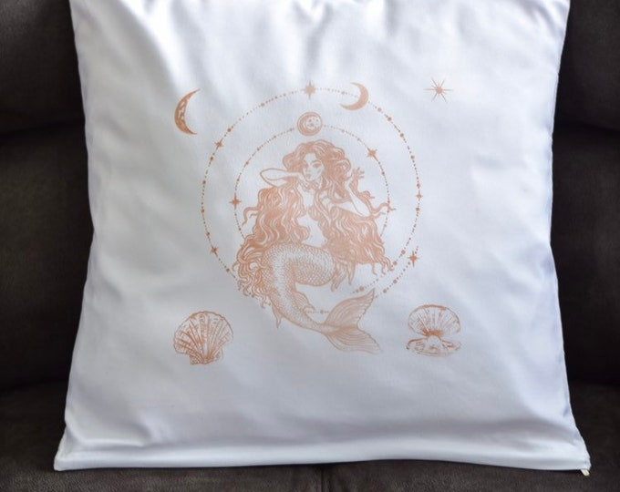 Rose Gold Mermaid Hand Printed White Pillow Case