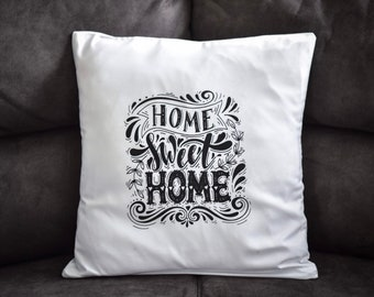 """Text """"Home Sweet Home"""" Hand Printed White Pillow Case"""