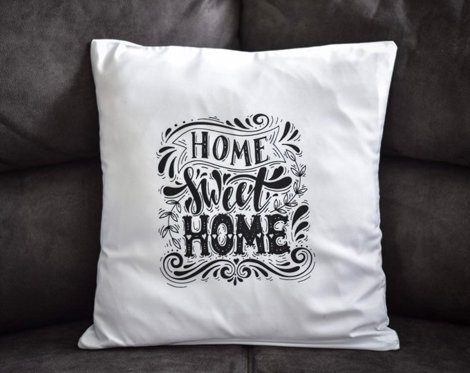 "Text ""Home Sweet Home"" Hand Printed White Pillow Case"