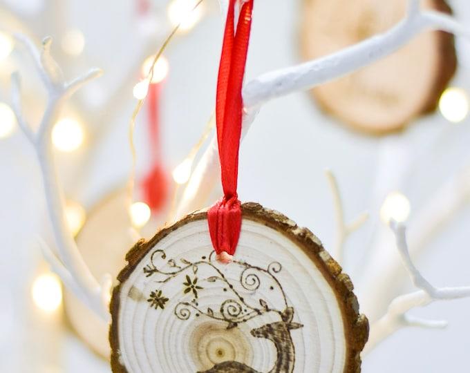 Reindeer(Pyrograhed log round) Tree Ornament
