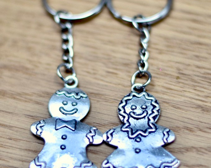 His and Hers Gingerbread Couple Keychain
