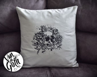 Skull Hand Printed Grey Pillow Case
