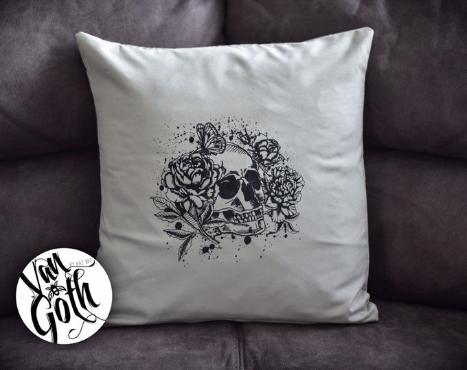 Skull Hand Printed Grey Pillow Case