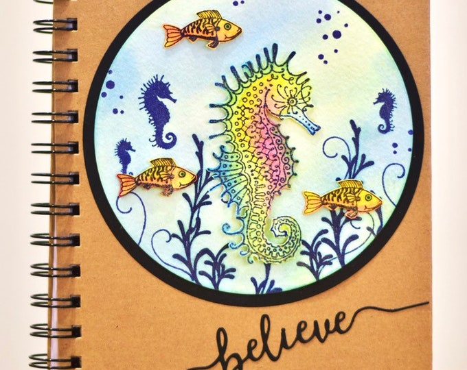 Seahorse Handcrafted A5 Notebook with Mermaid Bookmark