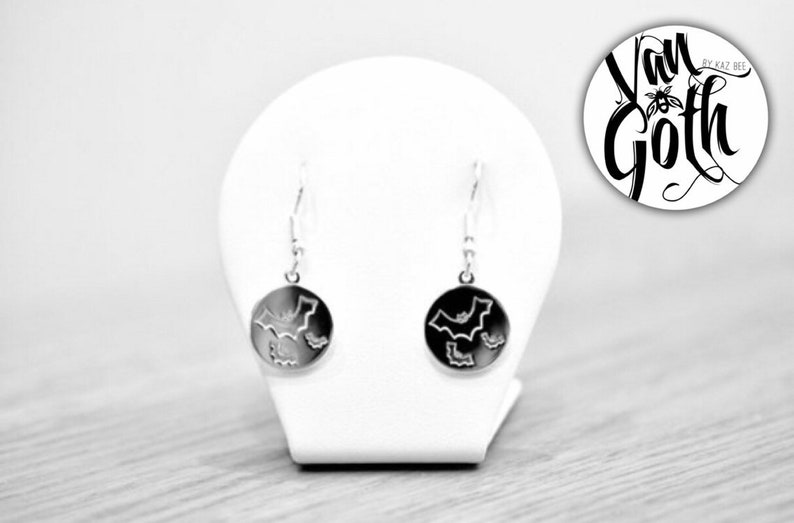 Flying Bat Drop Sterling Silver 925 Earrings image 0
