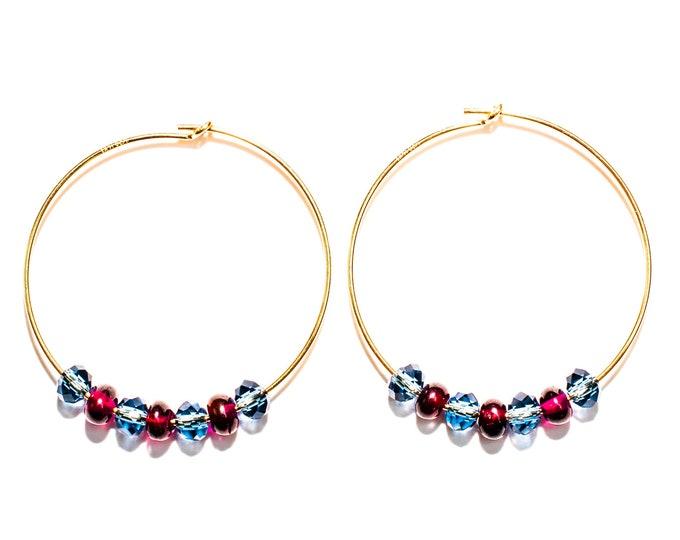 Featured listing image: 14K Gold Hoops with Burgandy Garnet & Denim Blue Crystal Beads.
