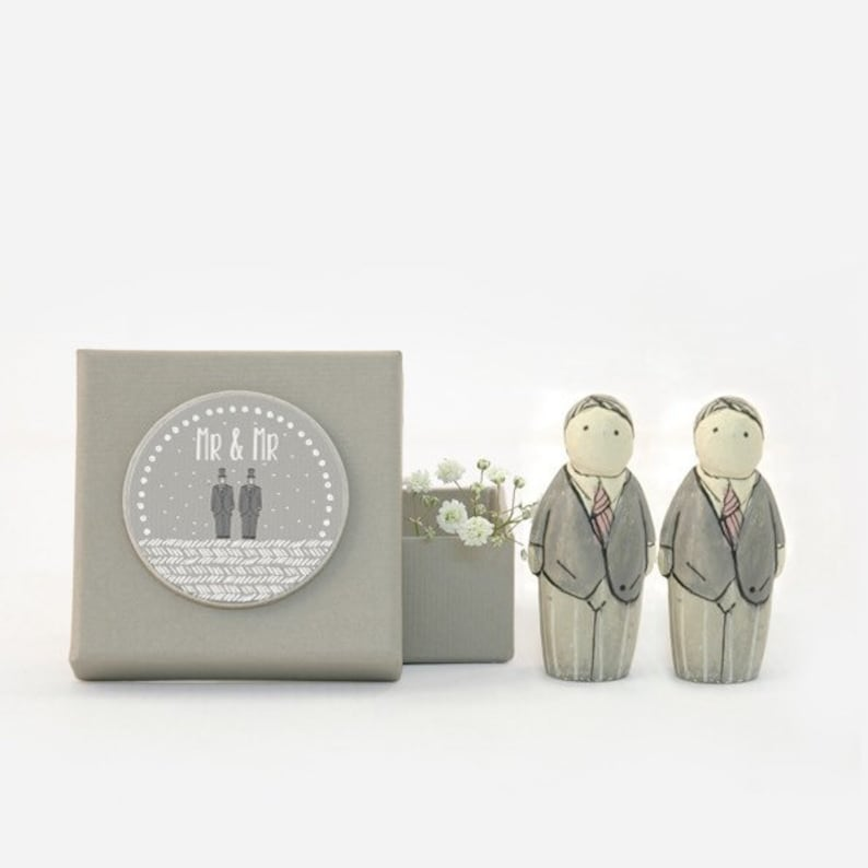 Groom & Groom Cake Topper Figures image 0