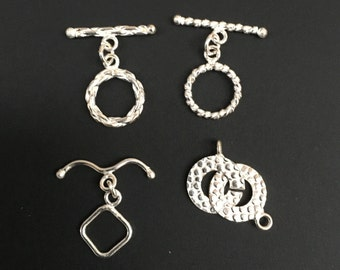 Silver Plated Multi Design Toggle Clasps - 4