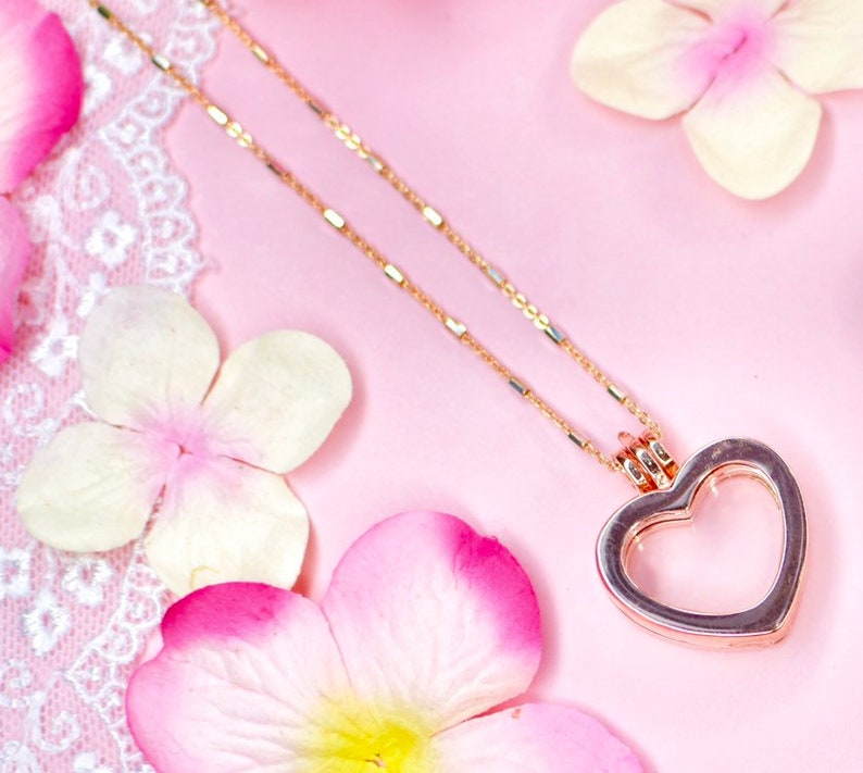 Rose Gold Heart Memory  Locket Necklace image 0