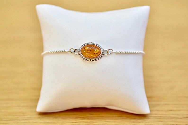 Genuine Baltic Amber 925 Sterling Silver Slider Bracelet