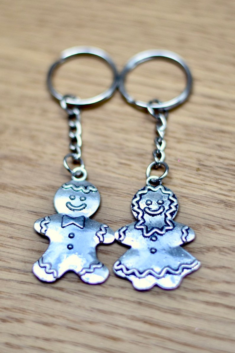 His and Hers Gingerbread Couple Keychain image 0