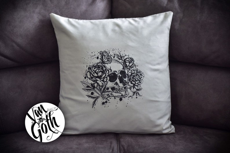 Skull Hand Printed Grey Pillow Case image 0