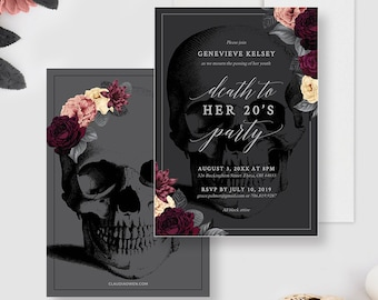 Death to Your 20's Party Invitation Editable Template, RIP 20's Death To My 20s, 30th Birthday Digital Download, Skull With Flowers