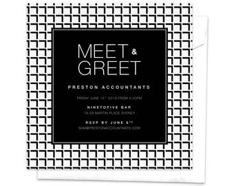 Meet and greet etsy meet and greet work function professional event work event corporate event work party work dinner modern invitation black and white m4hsunfo