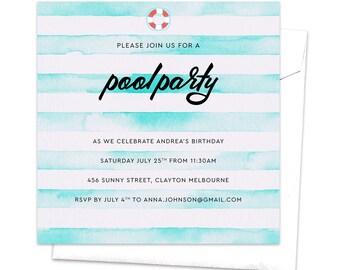Schwimmbad Partei Pool Einladung Sommerfest Kid Partyeinladung Kinder  Partei Geburtstag Einladung Schwimmbad Wasser Floatie Aquarell