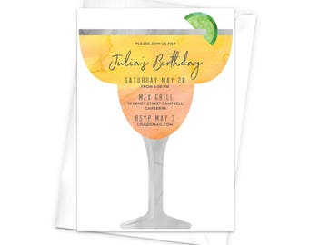 Margarita Glass Birthday Invitation Cocktail Happy Hour Drinks Fun Party Lime