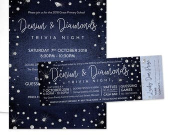 Denim And Diamonds Invitation Etsy