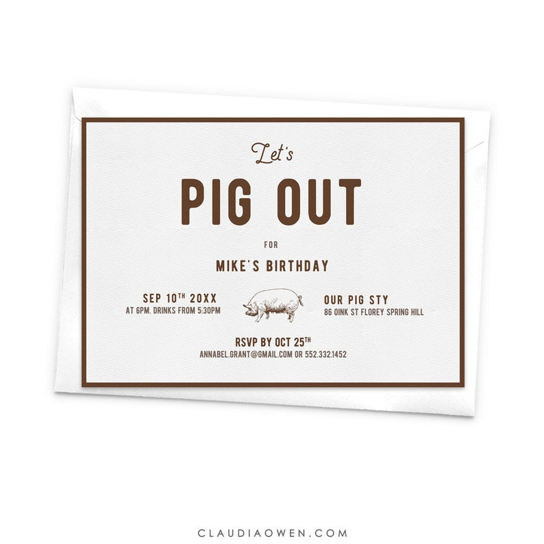 Let S Pig Out Dinner Invitation Dinner Party Food Foodie Etsy
