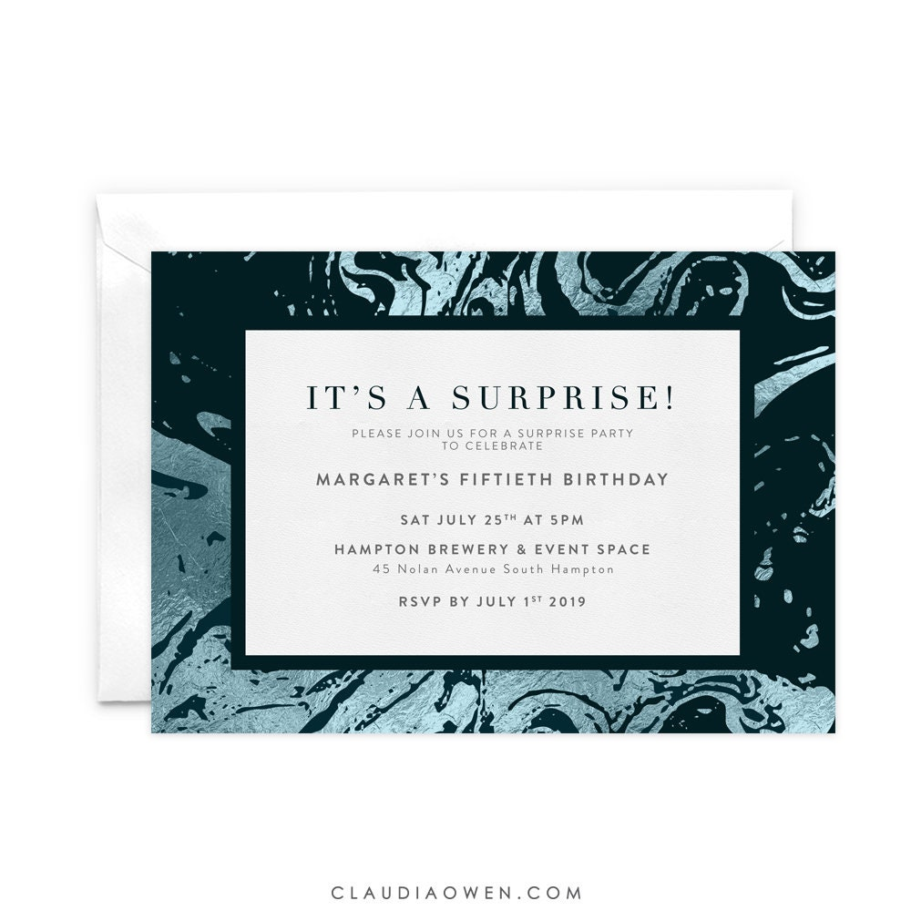 It\'s A Surprise Party Birthday Invitation Marble Marbling | Etsy