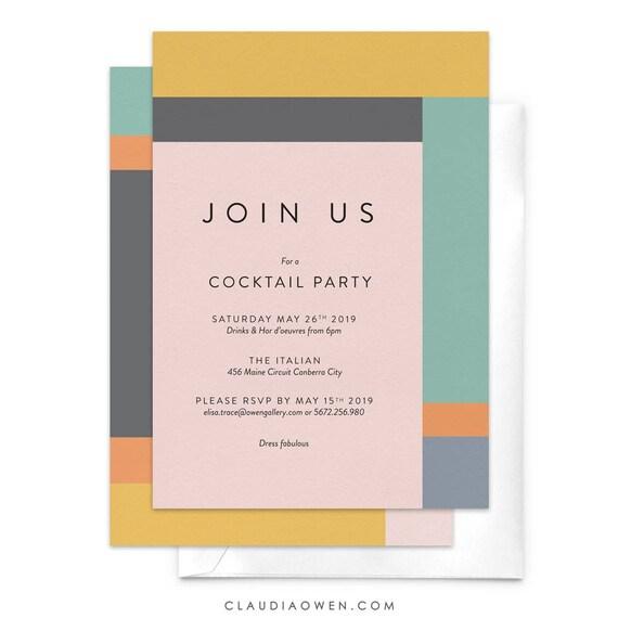 Cocktail Party Begleiten Sie Uns Dinner Party Einladung Moderne Einladung Firmen Event Professionelle Veranstaltung Geburtstagsfeier