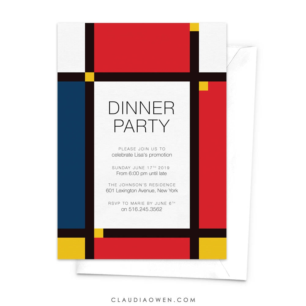 Mondrian Party Invitation Dinner Party Adult Party | Etsy