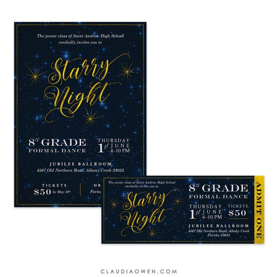 starry night prom invitations prom tickets high school prom etsy