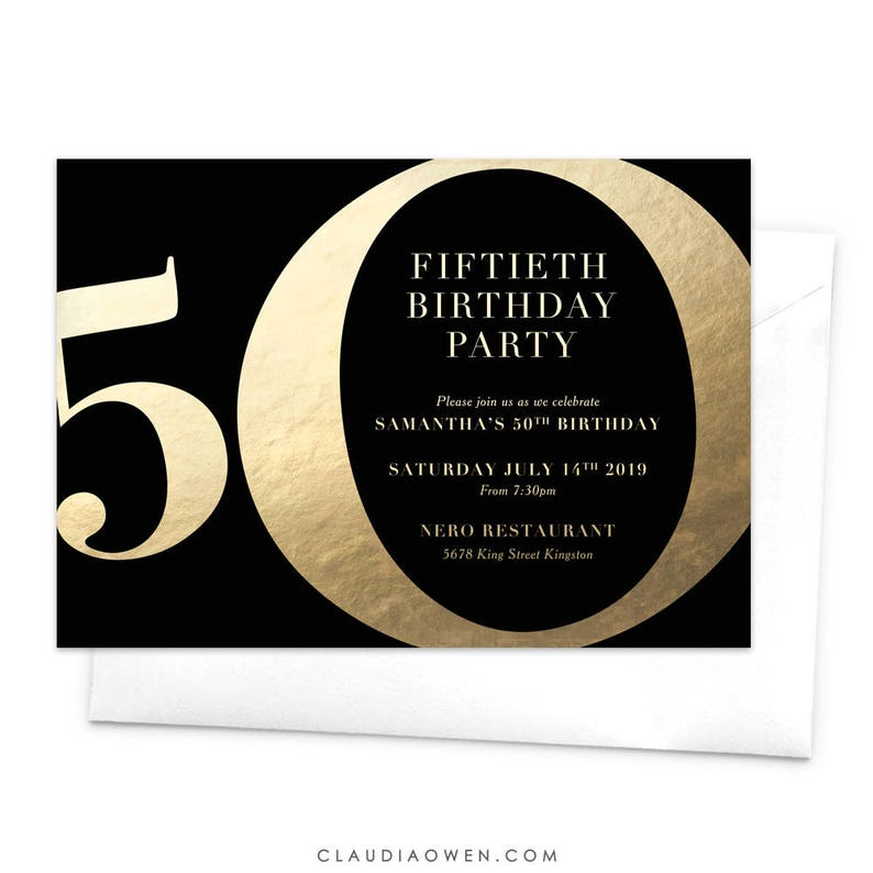 50th Birthday Party Invitation Turning 50 Fifty Big